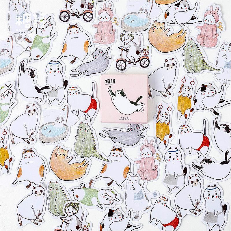 3 pezzi / lotto 1 pz nuovo cartone animato grasso gatto giornaliero washi nastro pratico pianificatore adesivi decorativi nastro adesivo nastro adesivo adesivo 2016