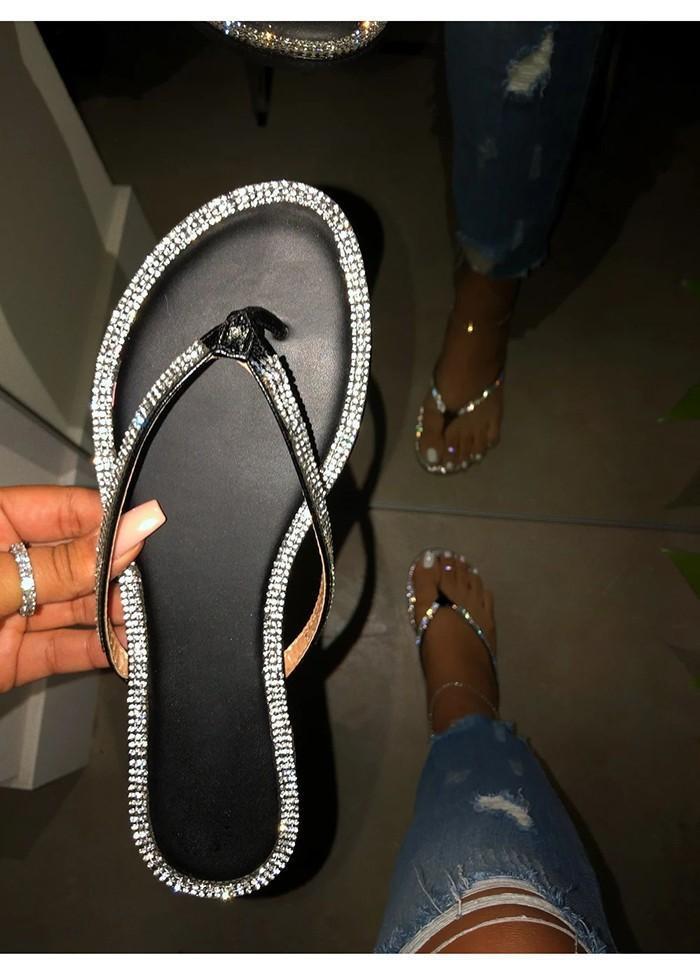 Slipper 2021 Summer Crystal Women's Flat Bottom Low Heel Fashion Wear Fairy Style Foreign Trade Large Size Flip-flops