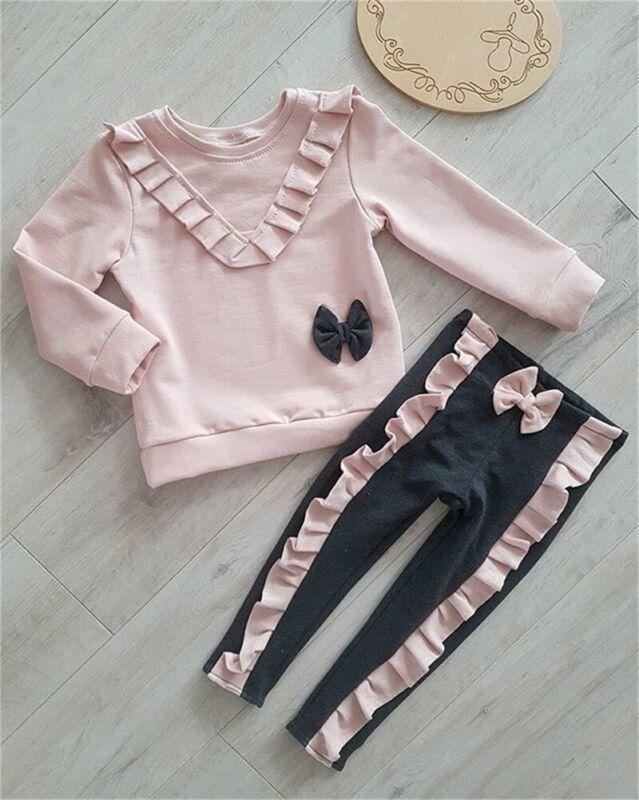 2019 nuevo otoño infantil niños bebé manga larga bowknot pullover tops volantes largos pantalones piernas 2pcs trajes ropa conjunto C0225
