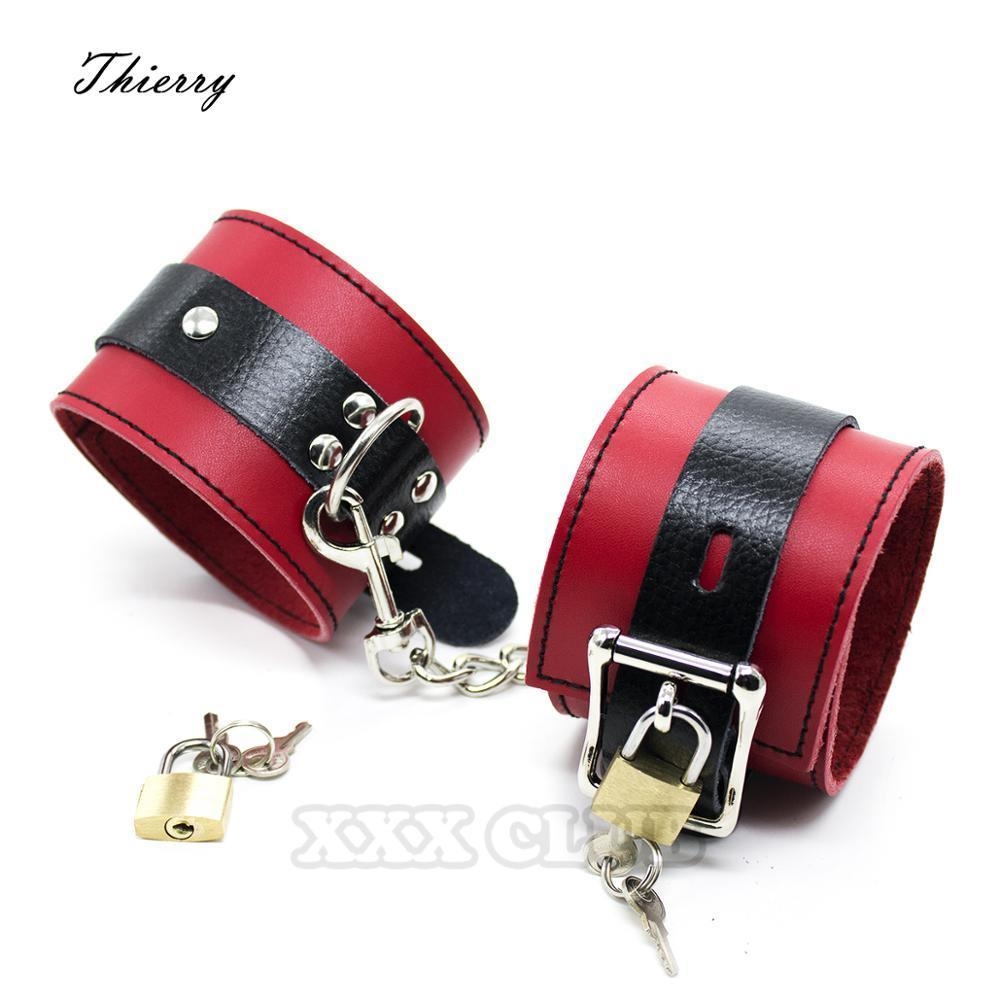 Thierry Fetish Bondage Restraints Products real Leather Wrist Ankle Cuff for Adult Games, Handcuff Footcuff Couples Roleplay 210722