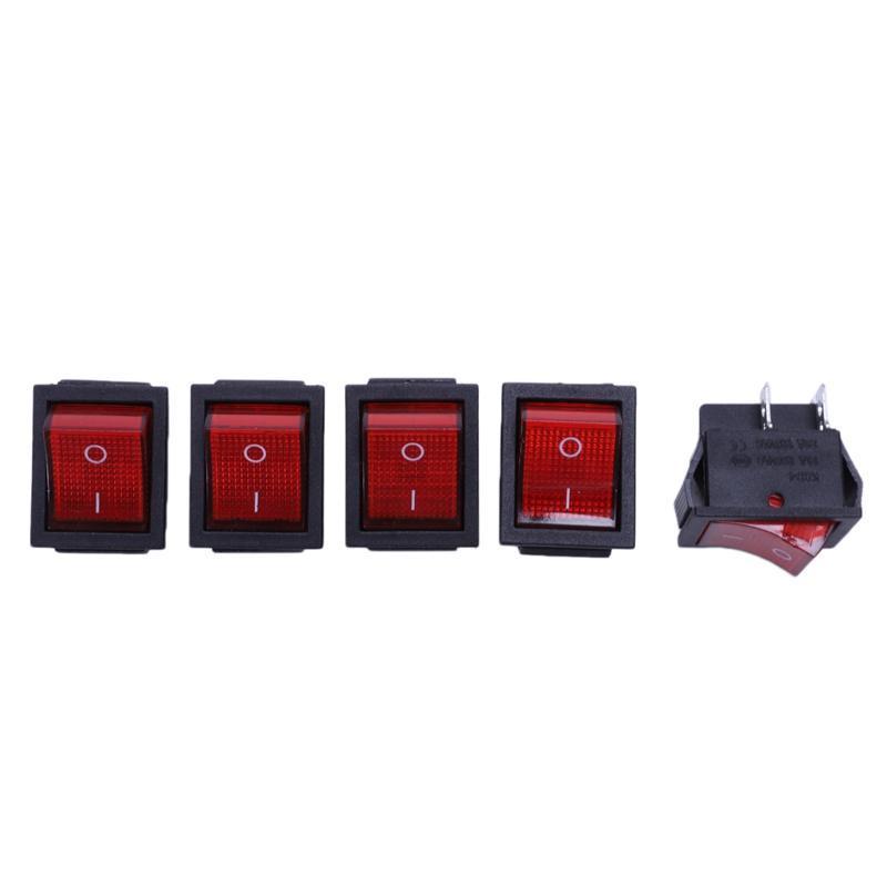 Contrôle de la maison intelligente 5 x Lampe rouge allumée sur / désactivé DPST Bateau Switch 16A / 250V 20A / 125V AC