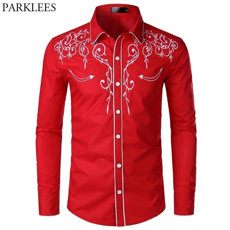 Chemise tuxtedo rouge florale de broderie florale marquée manches longues manches courtes robe de femme chemise chemise miel chemise de mariage pour hommes 210305