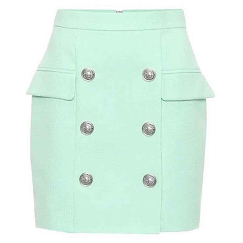 High Street Newest Falda de diseñador Botones de león de mujer Doble Breasted Mini Falda 210310