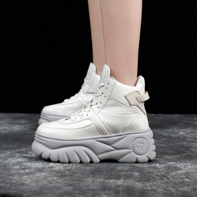 Femme Baskets Chunky Haute Talons Chaussures 2019 Printemps Femme Casual Chaussures Haut Top Top Platformers Sneakers pour Femmes Blanc / Noir Sneaker X56Y #