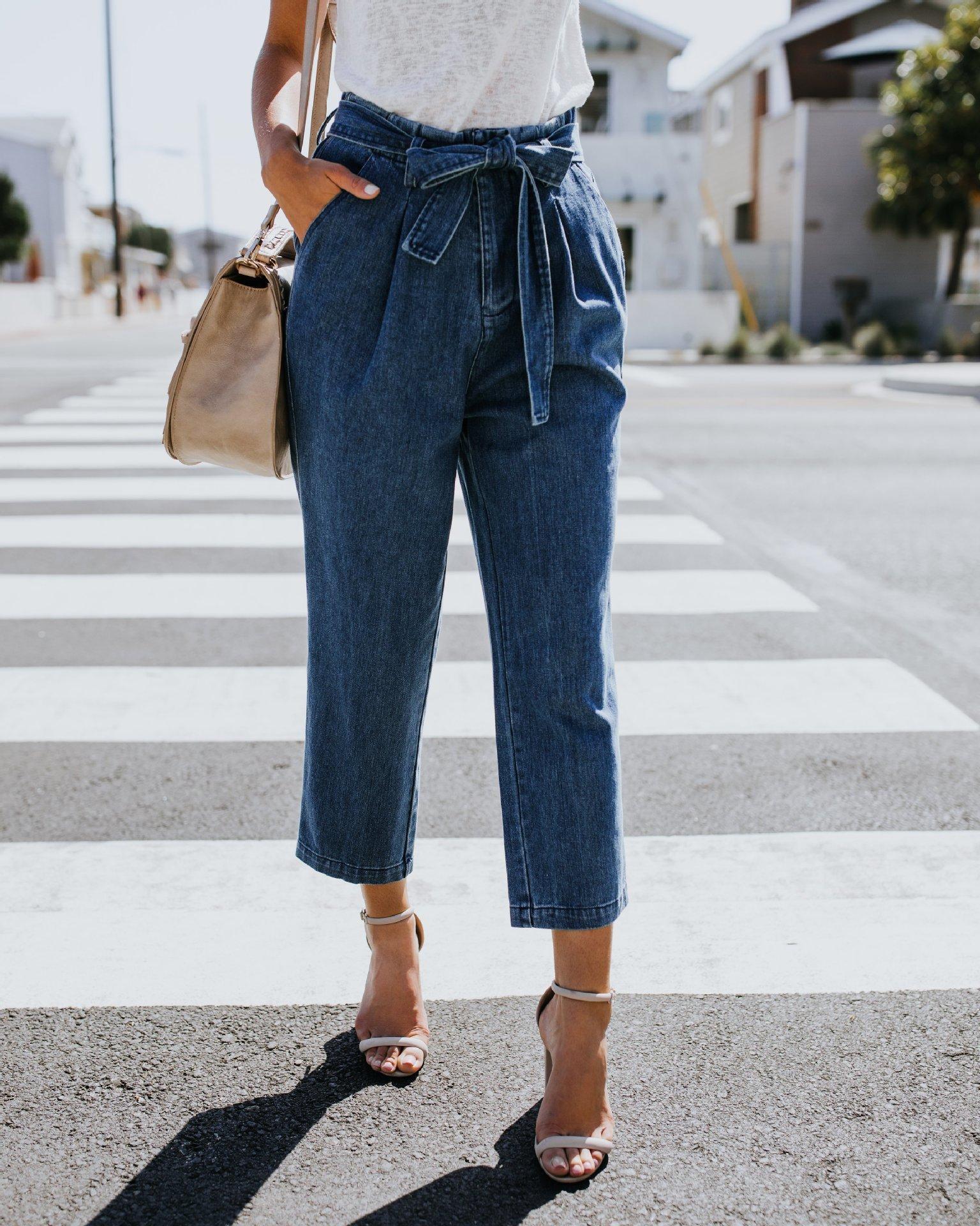 Kadın Moda Yeni Yüksek Bel Sonbahar ve Kış Kadınlar İçin Kot Pantolon Yukarı