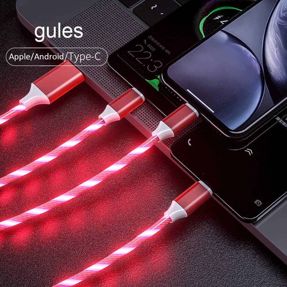 3 in 1 흐르는 빛 충전 케이블 빠른 충전 마이크로 USB 유형 -C 아이폰을위한 번개 데이터 코드 삼성 Huawei Xiaomi 자동차