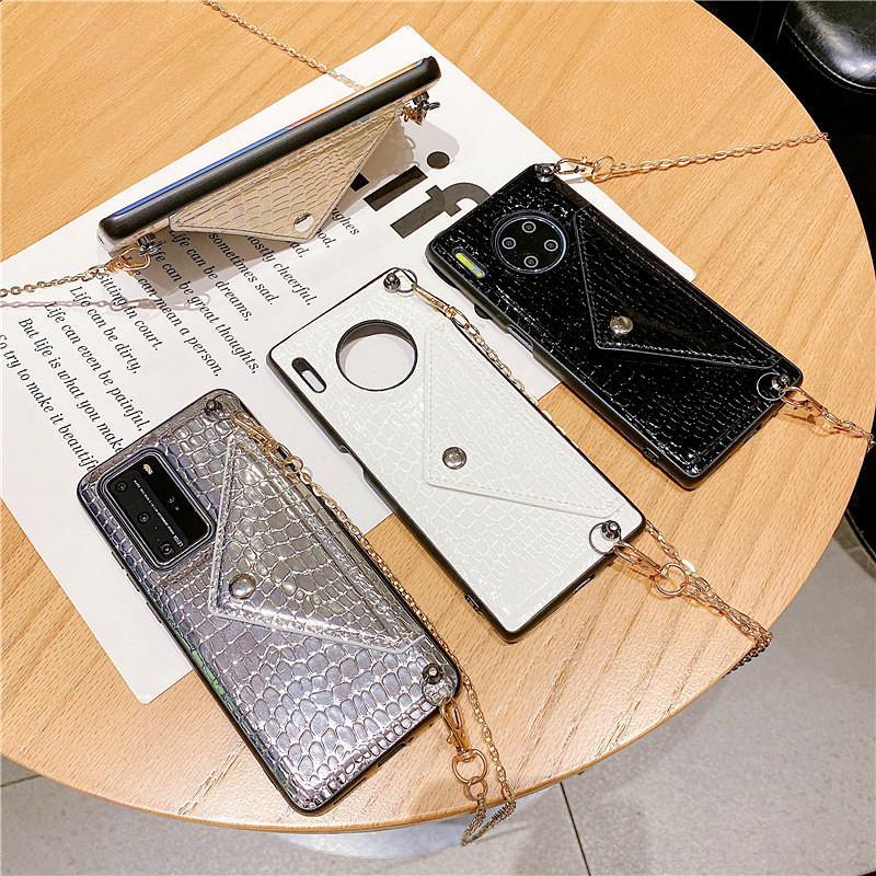 Tarjeta de crédito de lujo Tarjeta de crédito Casos de teléfono de Crossbody para Huawei P40 P30PRO NOVA 6 MATE 30 LASER GLITTER CUADRADA DE CUADRADOR