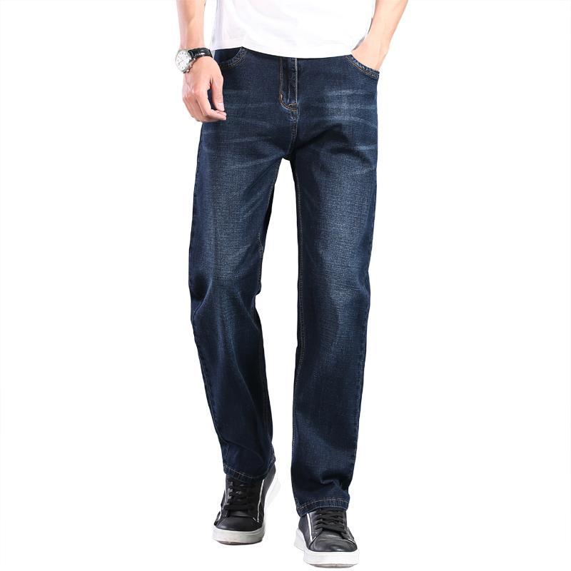 2021 Spring Summer Classic Marque Léger Droite Droite Lâche Denim Hommes Haute Qualité Bleu Dark Bleu Jeans grandes Taille 30-44