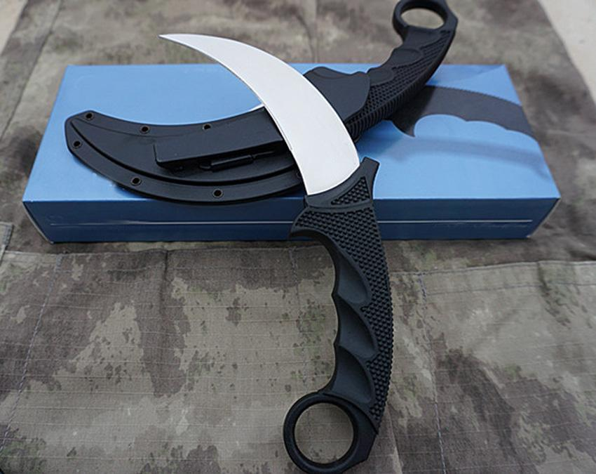 Tiger Karambit VG-1 Satin Blade Kra*ton+Grivory Handle Fixed Blade Claw knife with ABS K Sheath
