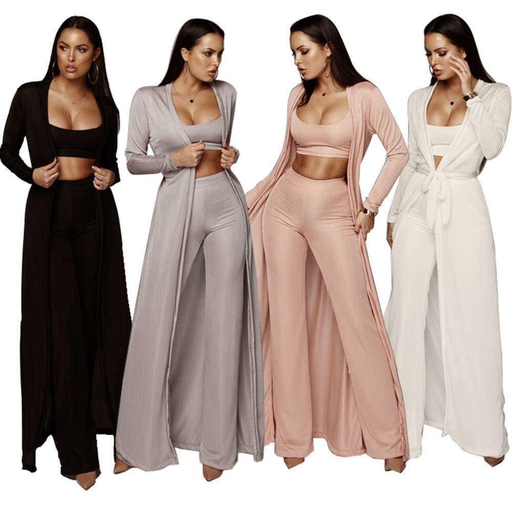 Moda-maglione casual 3 pezzi set donna caduta inverno vestiti salotto indossare crop top manica lunga cardigan pantaloni