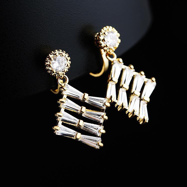 Mode koreanische micro eingelegter Schmuck einfache Frauen Ohrringe Neuer Diamant Zirkonclip ohne Ohrloch