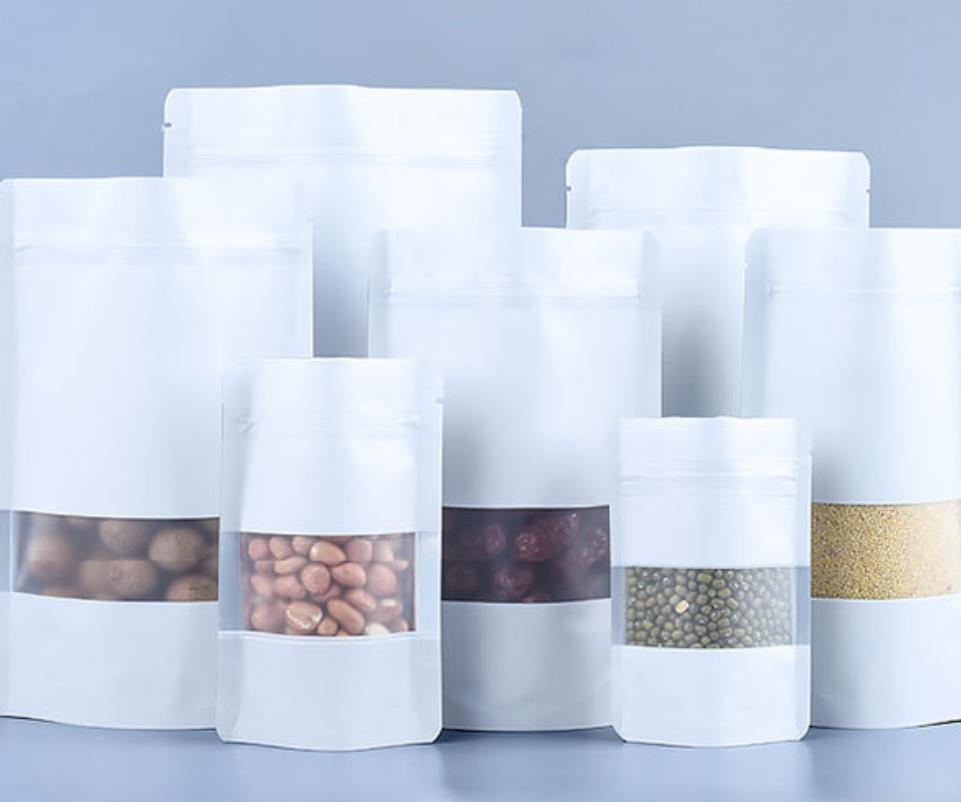 Çanta Ambalaj Ofis Okul Iş Endüstriyel100 adet / grup Mat Beyaz Alüminyum Folyo Gıda Doypack Pencere Reclosabl ile Zip Kilidi Paket Çanta