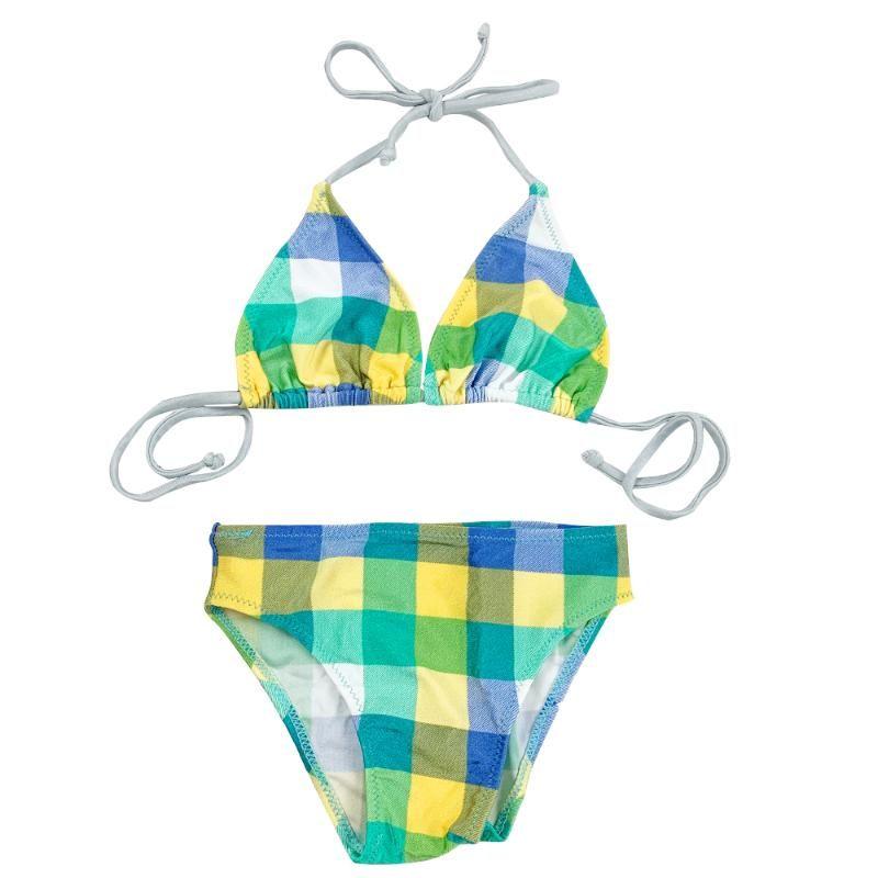 Livraison rapide et gratuite Baby Girl Bikini, Enfants Enfants Maillot de bain à carreaux de maillot de bain à maillot de bain sans dossier Bikini Set