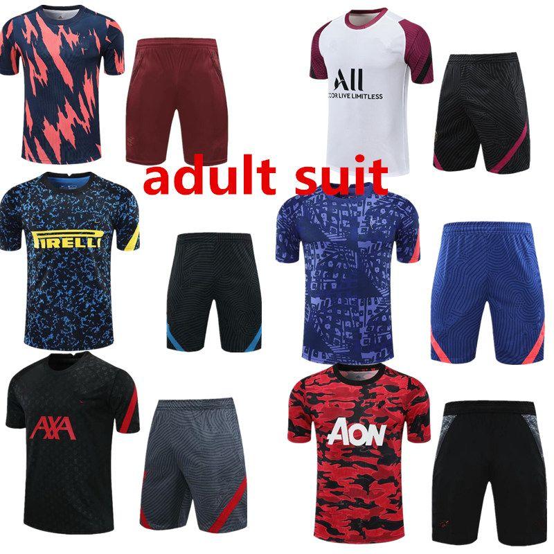 2020 ASEN Adam Unitl Madrid Futbol Survetement Kısa Kollu 1/2 Pantolon Eşofman Mbappe Lukaku Eğitim Futbol Gömlek Kiti Chandal Set