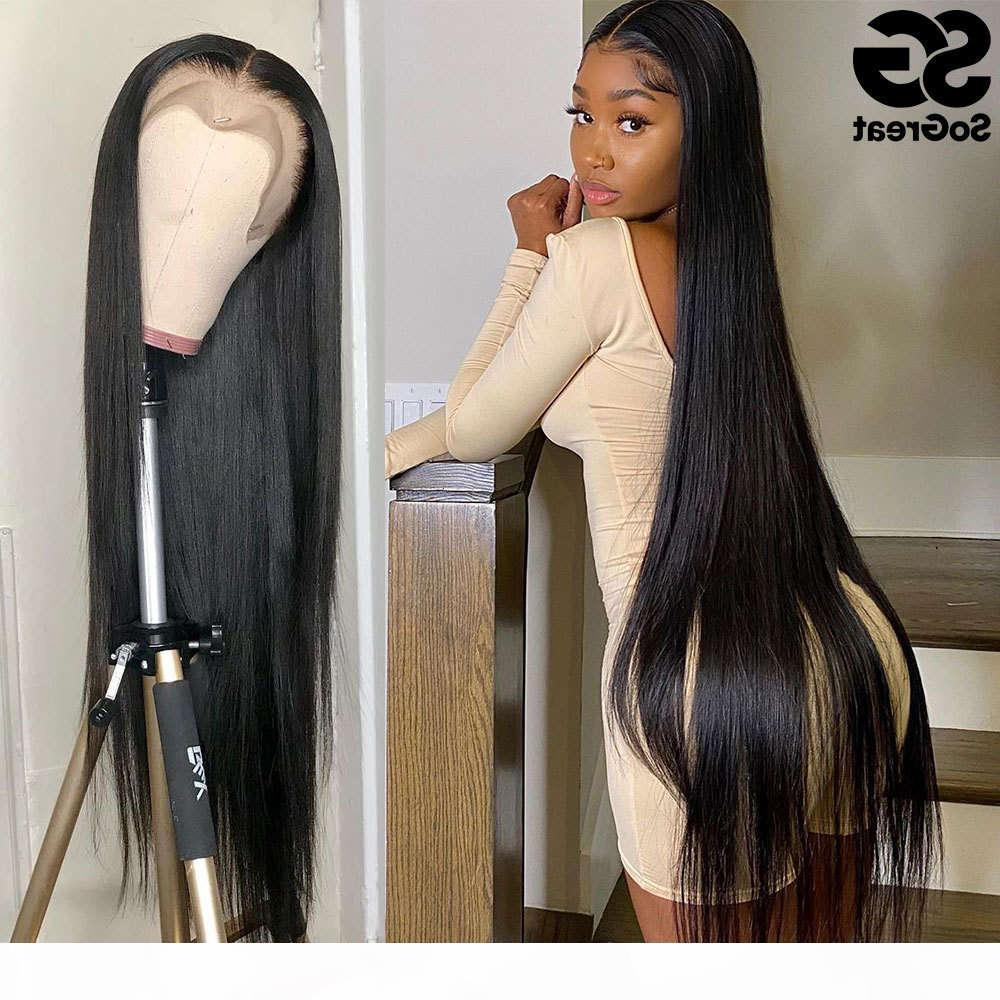 28 30 40 Inch Human Wigs for Black Women Pre Plucked Brazilian Hair 13x4 Frontal Full Hd Straight Lace Front Wig
