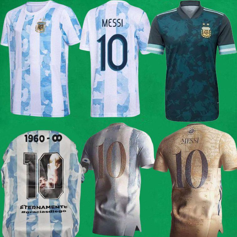 Argentinien Fussball Jersey 2021 Copa America Messi Dybala Aguero Lautero Football Hemd Maradona Special Badge Goldene Elements 20 21 Männer + Kinder Kit Uniformen