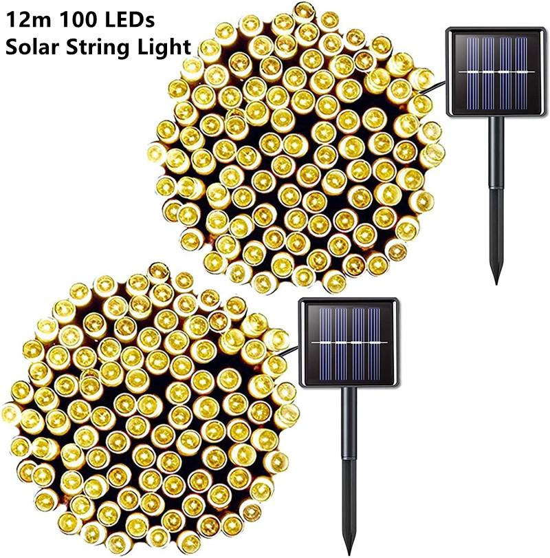12m Solar Lamps LED String Lights 100 LEDS Outdoor Fairy Holiday Christmas Party Solar Lawn Garden Solar Lights Waterproof