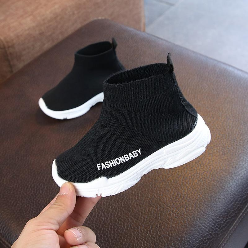 Sonbahar Yeni Kore Versiyonu Çocuk Çorap Ayakkabı Erkek Sneakers Kız Hida Nefes Örgü Spor Ayakkabı Yüksek Gang Streç Ayakkabı