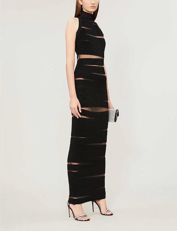 Yüksek kaliteli ünlü siyah moda beyaz kolsuz rayon bandaj giymiş kokteyl parti zarif elbise qget