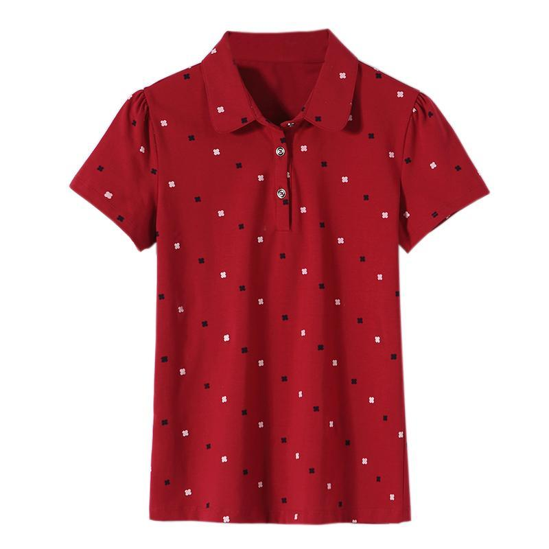 بولو المرأة 100٪ قطن ماركة أزياء الراقية الفاخرة الصيف مرونة المطبوعة البرية عارضة التلبيب قصيرة الأكمام قميص الأعلى