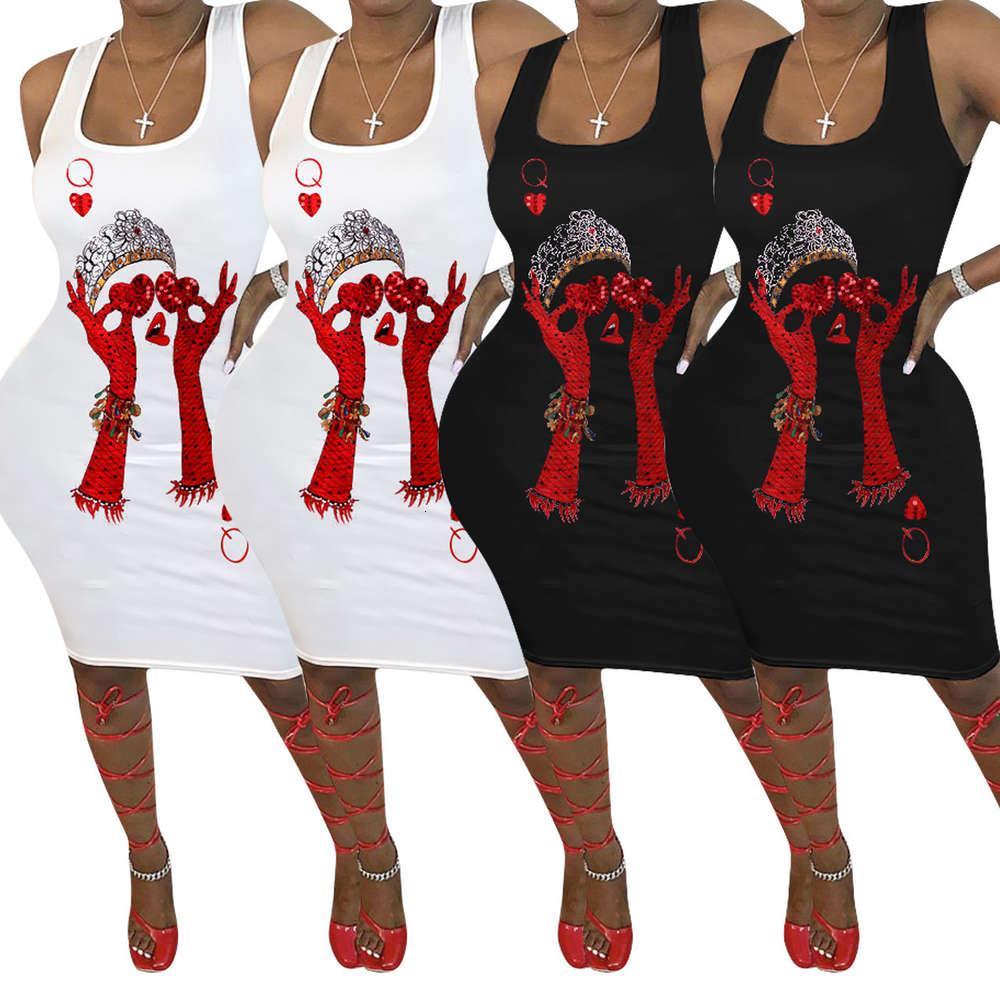 Q633 Damenmode-Poker-Positionierung Druck-Hosenträger-Kleid