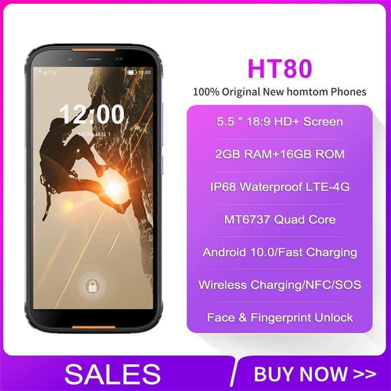 Homtom HT80 4G LTE أندرويد 10 الهواتف الوعرة IP68 للماء الذكي 5.5 '' MT6737 شاحن لاسلكي NFC 2GB 16GB الهاتف المحمول