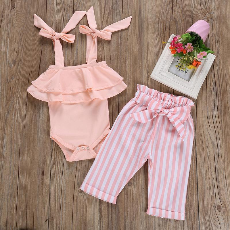 Clothing Sets Born Kids Baby Girl Summer Clothes Outfits Off Shoulder Romper Jumpsuit+Stripe Pants Set Meisjes Kleding