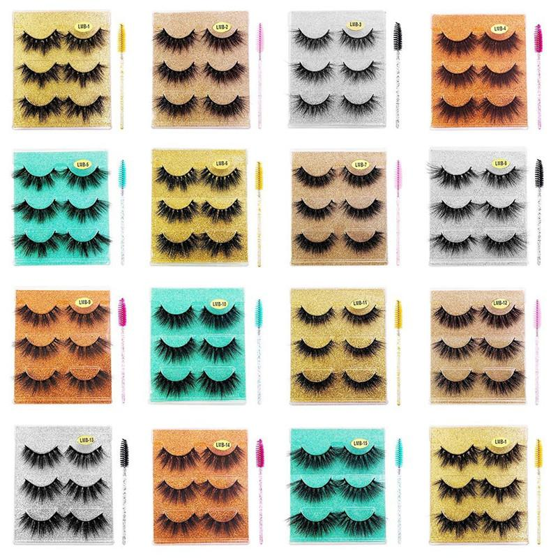 3 Pairs/box 3D Mink Eyelashes Fluffy Thick Wispy Natural False Eyelash With Glitter Packing Cruelty Free Multilayer Eye Lashes Extension