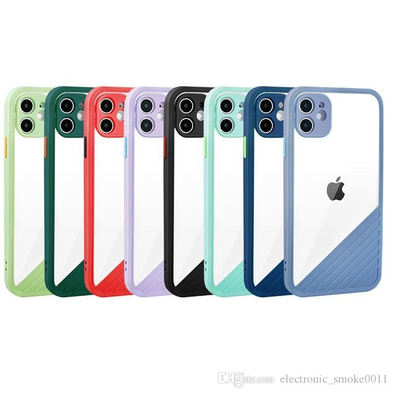 For phone 12 11 pro max 11 pro xs max xr x 8 7 plus candy color cell phone case cover slim transparent silicone case