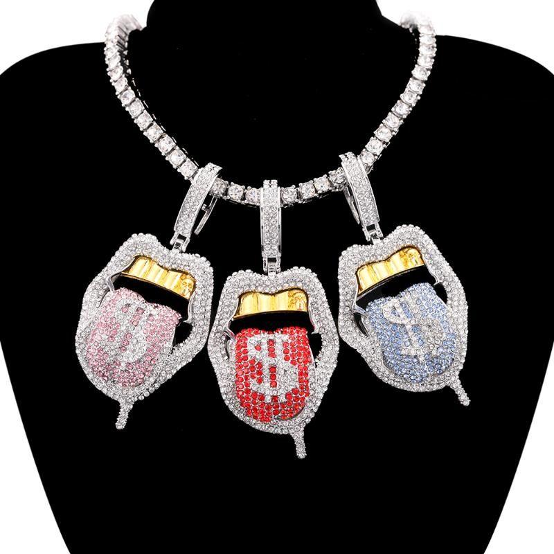 Collares colgantes Hip Hop Dollar Symbol Micro Pave Gotping Labios Collar de labios Hombres Iced Out Bling Lengüe Tenis Cadena para Mujeres Regalo