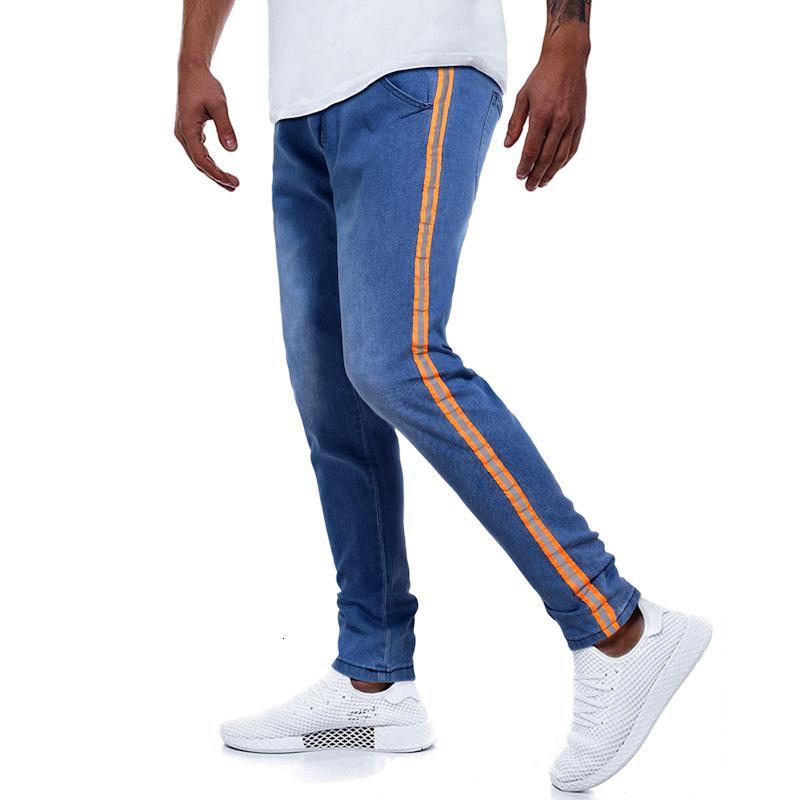 Tamaño europeo azul remiendo de mediana alza lápiz jeans pantalones