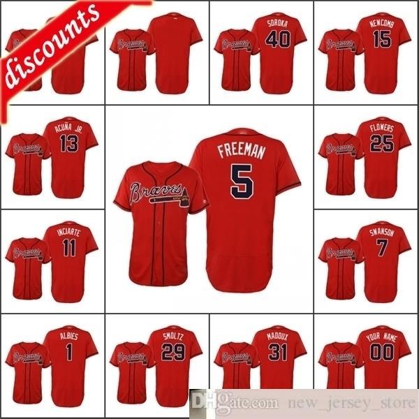 2020 Hombres de béisbol # 13 Ronald Acuna JR 1 Ozzie Albes 11 Ender Inciarte 40 Mike Soroka Custom Women Women Flex Base Alternate Jersey