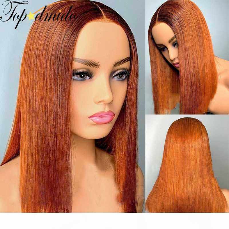 Topodmido Brésilien Cheveux Orange Courtes Bob Cut Bob Cut Dentelle Front Front # 350 13x6 Human Remy Cheveux Dentelle Perruque avant 150% Densité