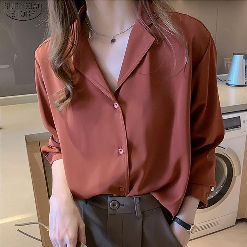 Bureau coréen Chemises Col V-Col V Lâche Vêtements 2021 Nouveaux Femmes Chemisée en mousseline de soie Chemisie Solide Chemise rouge Blusas 9380 50 210302