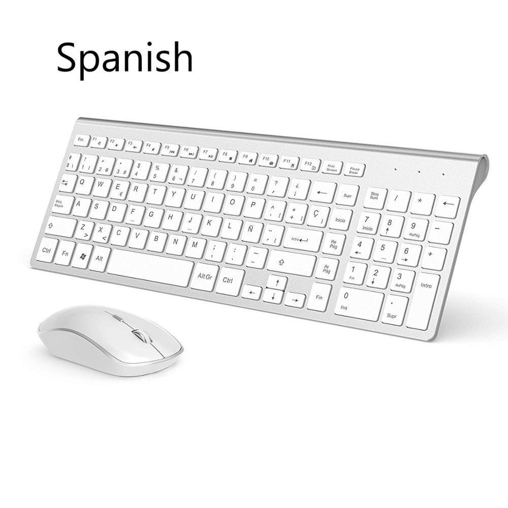 Tastiera senza fili e mouse Spagnolo Set di spagnolo 2.4 GHz Collegamento stabile per ufficio Home Presentazione di viaggio Tastiera wireless Mouse 210315