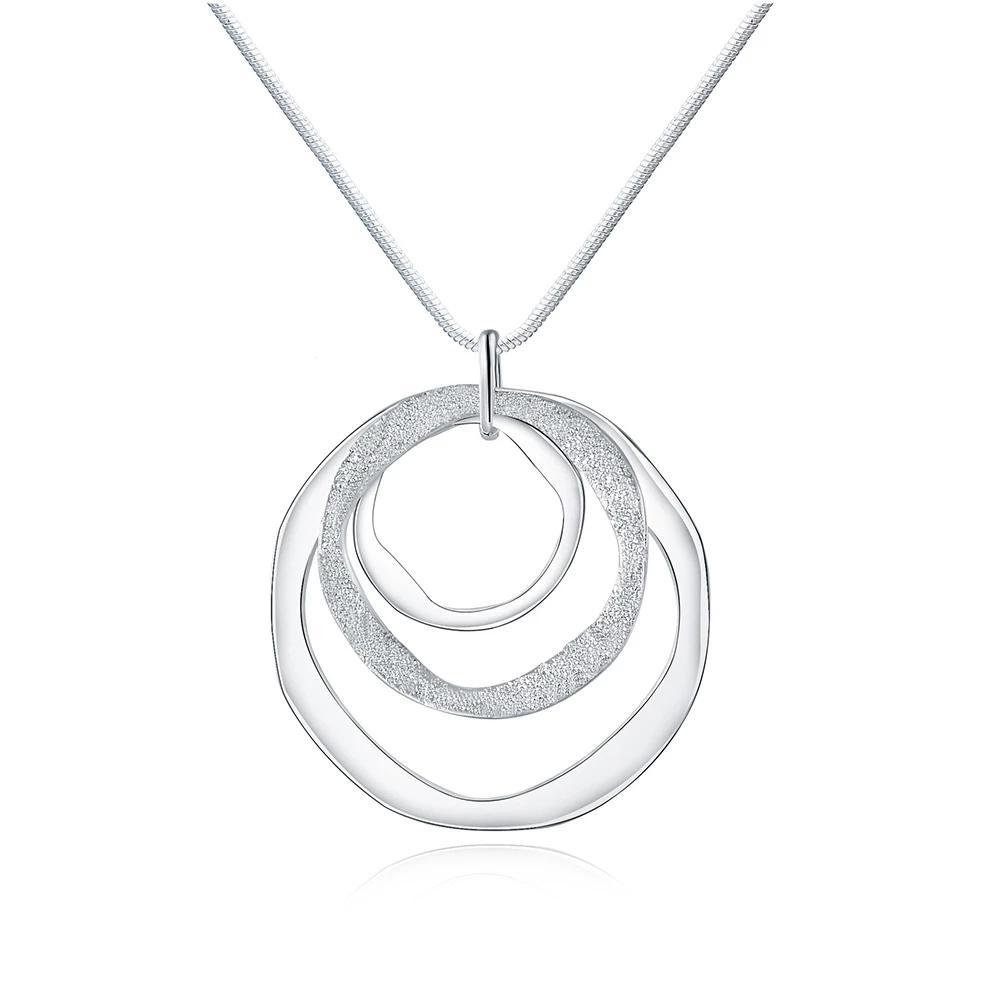 925 Ayar Gümüş Kaplama 1mm 18 Inç Üç Daire Kolye Zincir Buzlu Kolye Kadınlar için Moda Düğün Parti Charm Takı