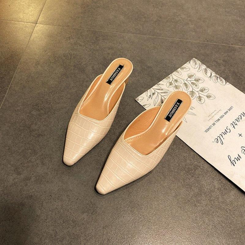 Deat 2020 Neue Sommermode Baotou Half-Drag High-Heeled Temperament außerhalb Verschleißspitze Muller Hausschuhe Schuhe Frauen SE614 A5BW #