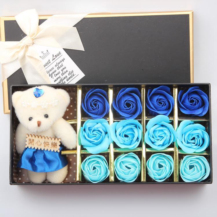 Caixa de presente de flor de sabão rosa presentes de eventos de casamento presentes de aniversário de casamento dia dos namorados pode ser colocado na banheira