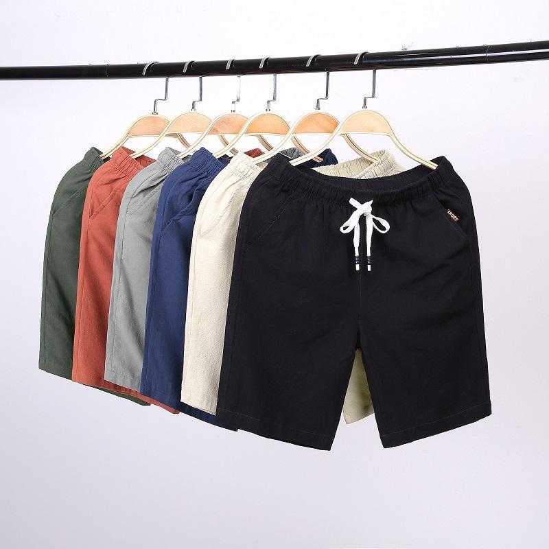 Männer Shorts 2021 Casual Hohe Qualität Leinen Baumwolle Komfort Männliche Streetwear Solide Farbe Lose Mode Männer