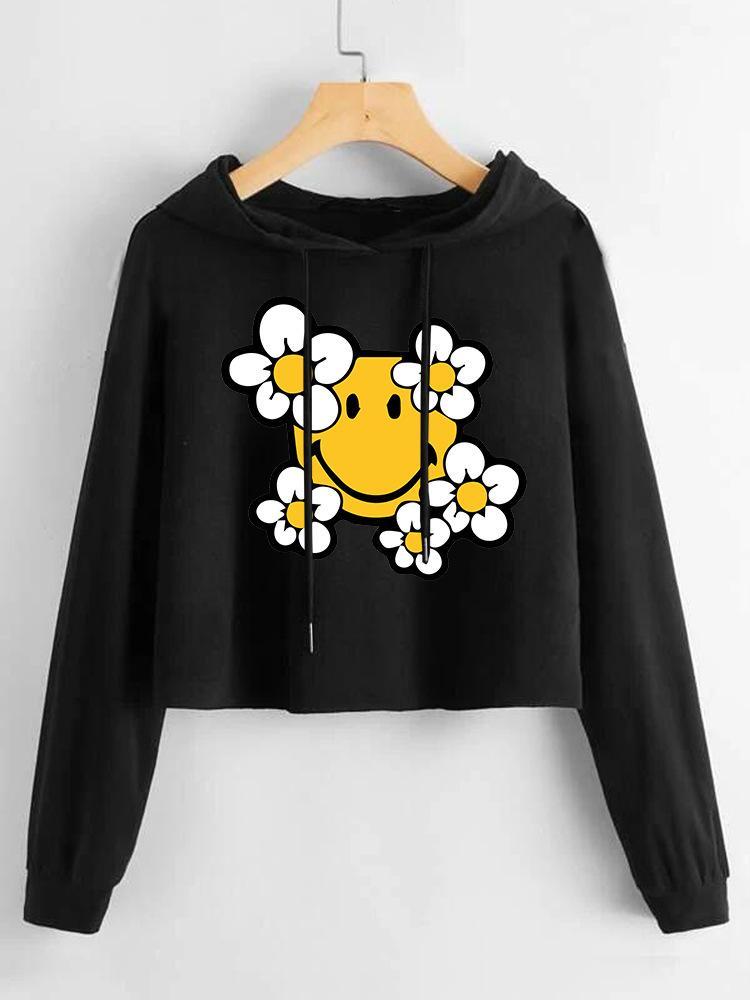 Женский новый цветочный желтый смайлик напечатанный короткий свитер