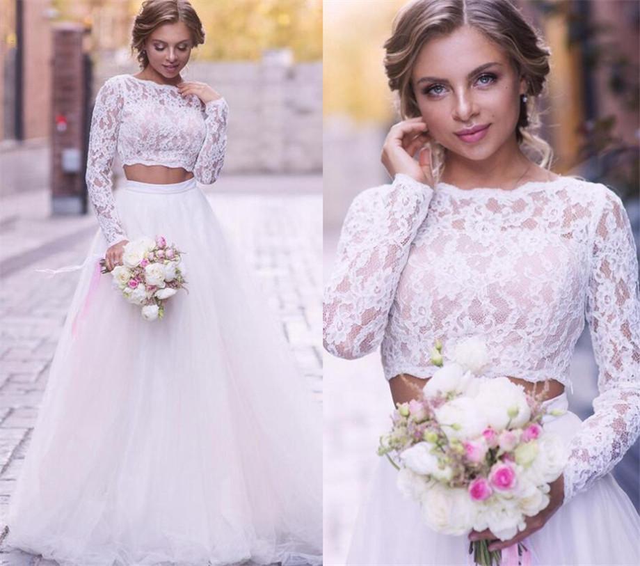 Long Sleeves Wedding Dresses Lace Two Piece 2021 Tulle Scalloped Neckline Floor Length Country Beach Wedding Bridal Gown vestido de novia