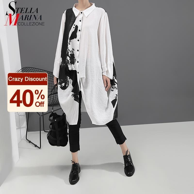 Kore tarzı kadın uzun kollu beyaz baskı gömlek elbise boyama artı boyutu düz bayan rahat midi elbise gevşek robe femme 5459 210303