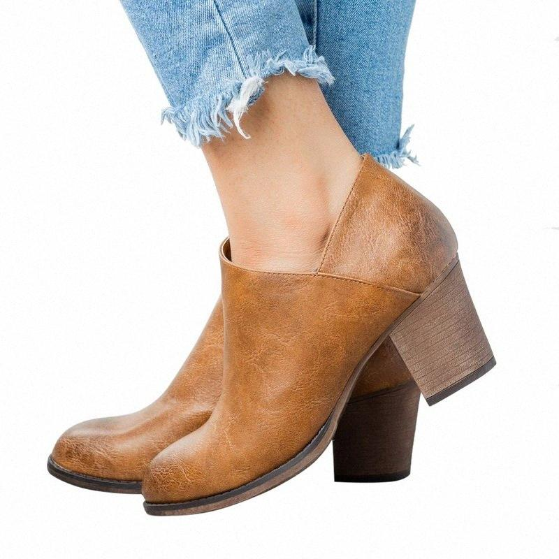 Monerffi Drop Shipping 2019 Yeni Bayan Kısa Çizmeler Moda Sivri Burun Yan Fermuar Orta Tıknaz Blok Topuk Ayak Bileği Çizmeler Peep Toe Patik Q65S #