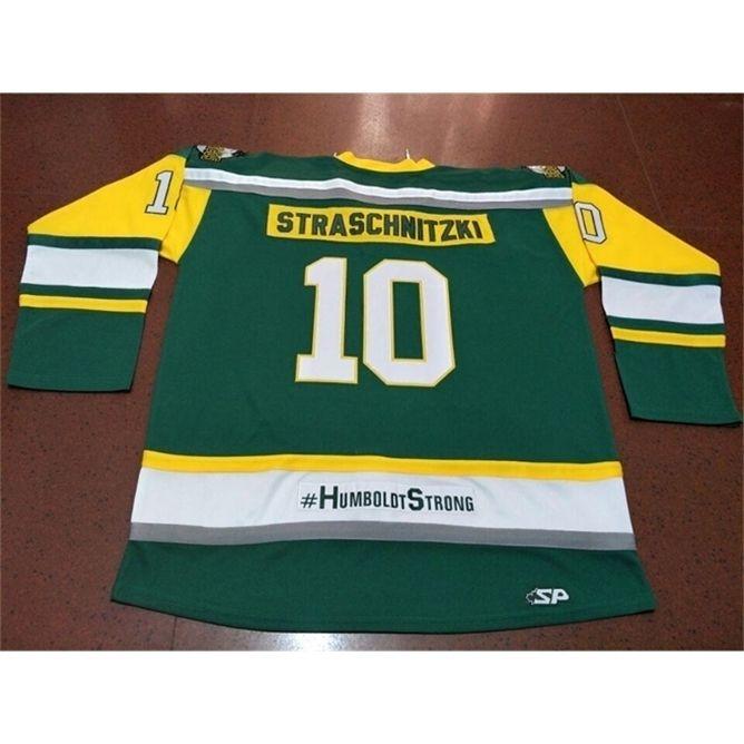 668 Humboldt Starke Strasschnitzki echte grüne Stickerei # 10 Humboldt Broncos Hockey Jersey oder benutzerdefinierte Name oder Nummer Retro Jersey