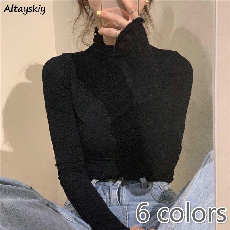 Uzun Kollu T-Shirt Kadınlar Katı Basit Temel Tüm Maç Kore Trendy Bayan Tops Günlük Yumuşak Sonbahar Popüler Bayanlar Giyim Tee C0220