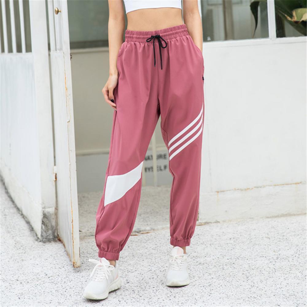 Novo lazer esportes ginásio calça mulheres solta e fina yoga executando respirável calças de raio de secagem rápida bf harajuku corredores x0131