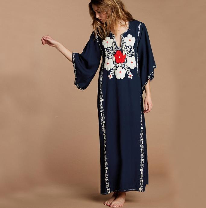 Swimwear da donna blu navy ricamo kaftano Beach Abito da bagno costume da bagno Bikini copertura up elegante musulmano cotone donne estate mezzo manica lunga dr