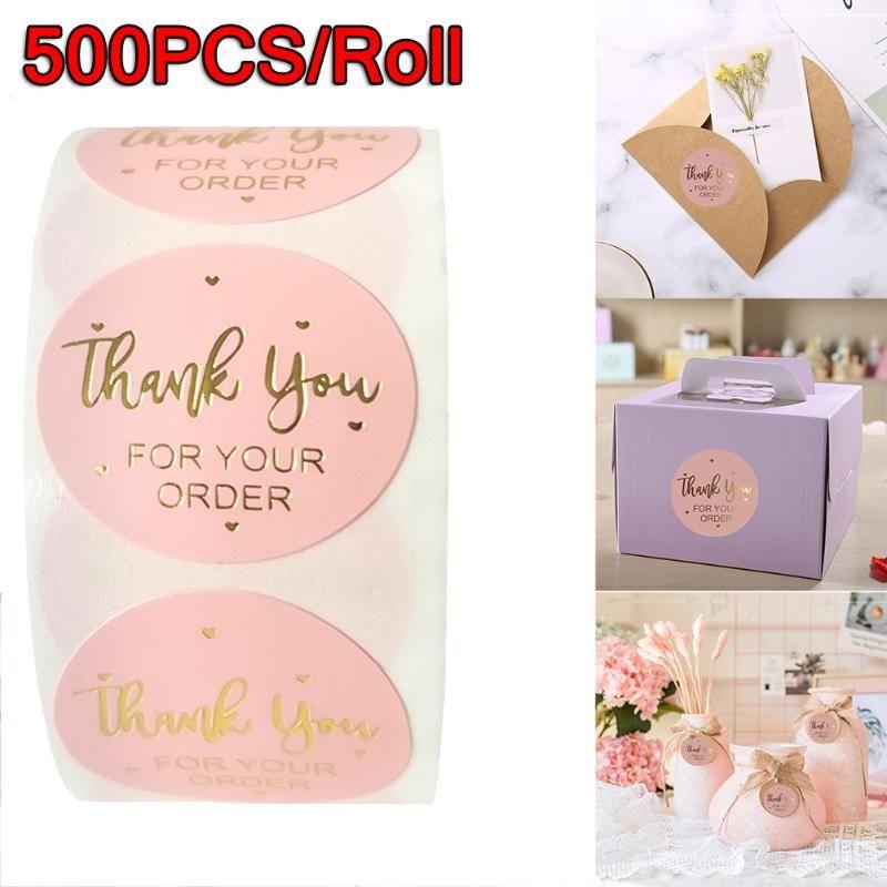 Hediye Paketi 500 adet / rulo Siparişiniz için teşekkürler Etiketler Etiket Mühürler Altın Folyo Pembe İş Doğum Günü Partisi Etiketleri Şekeri Şekeri