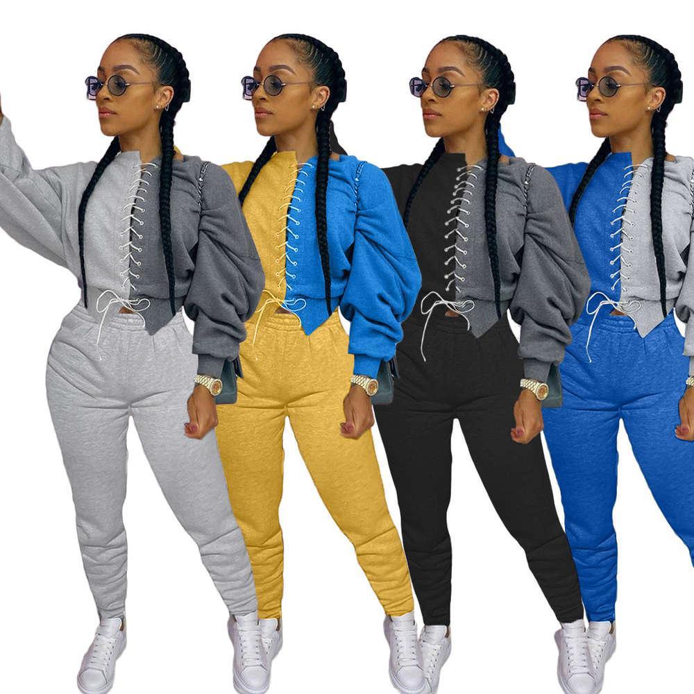 Женский повседневный трексуит 2 кусок Set Fall Sportswear Joggers Женский набор костюмы потех Топ брюки из двух частей зимних нарядов