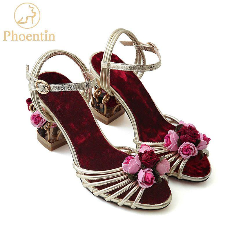 Phoentin Çiçek Altın Kadın Sandalet Birdcage Garip Topuklu Ayak Bileği Kayışı Toka Bayanlar Sandal Karışık Renk Kadın Ayakkabı FT335 210302